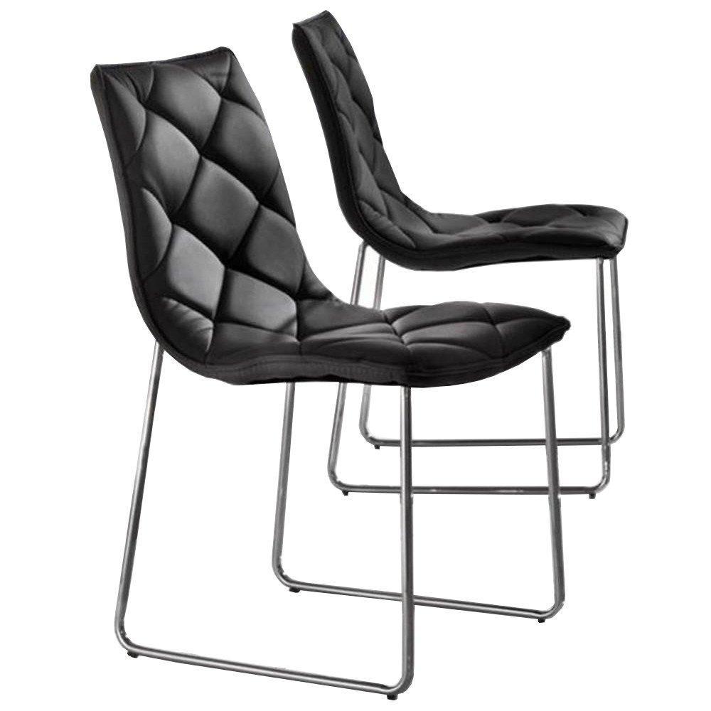 Lot de 2 chaises TOSCANE en tissu enduit façon cuir noir piétement acier chromé