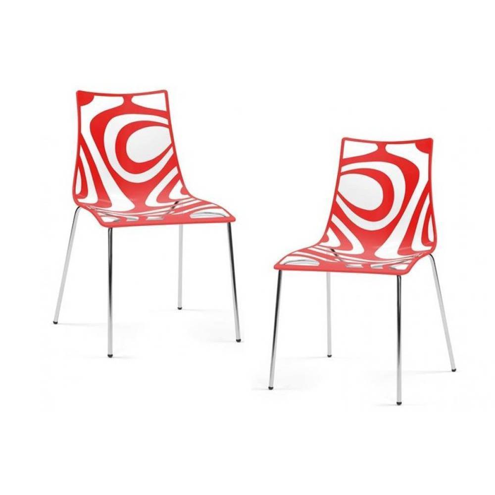 Chaise design ergonomique et stylis e au meilleur prix lot de 2 chaises desi - Chaises rouges design ...