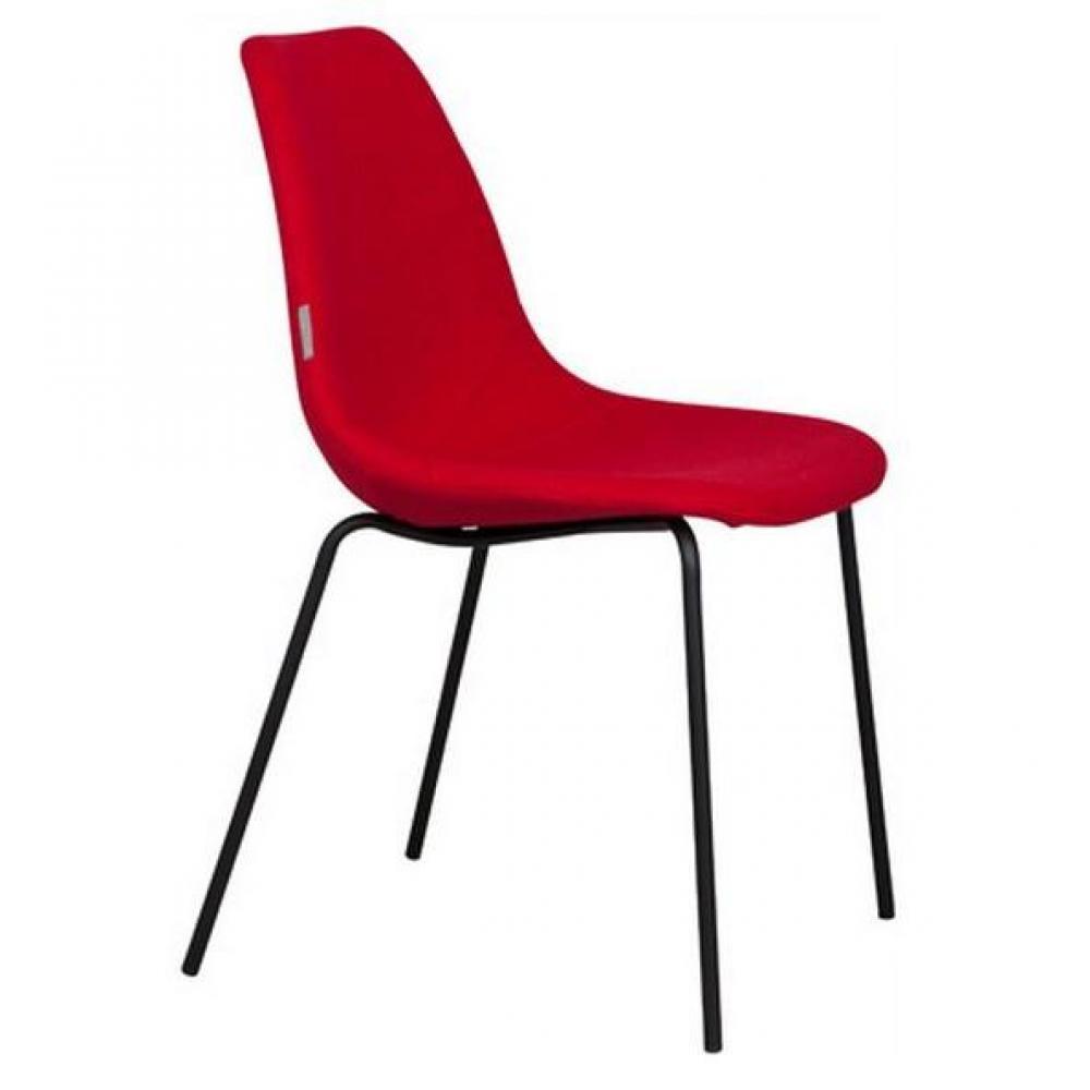 Chaises meubles et rangements chaise zuiver fifteen rouge avec pieds noir inside75 for Chaise zuiver