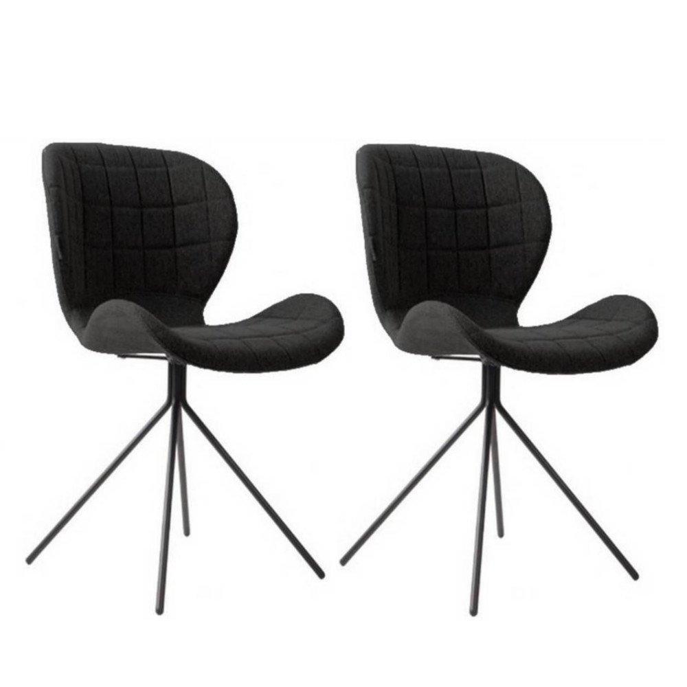chaises Lot 2 tissu de noir ZUIVER OMG CoQeWxBrd