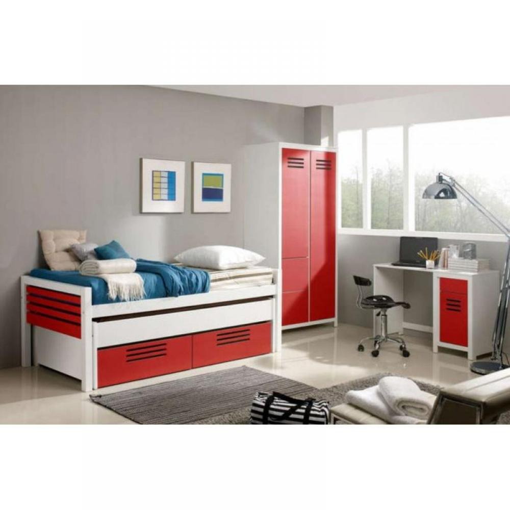 chambre enfant chambre literie marlone ensemble chambre d 39 enfant blanche et rouge couchage. Black Bedroom Furniture Sets. Home Design Ideas
