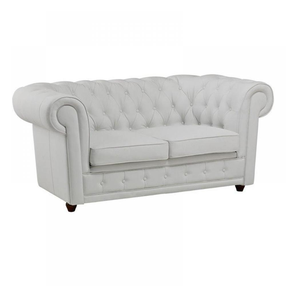 Canap chesterfield en cuir velour au meilleur prix for Canape blanc 2 places