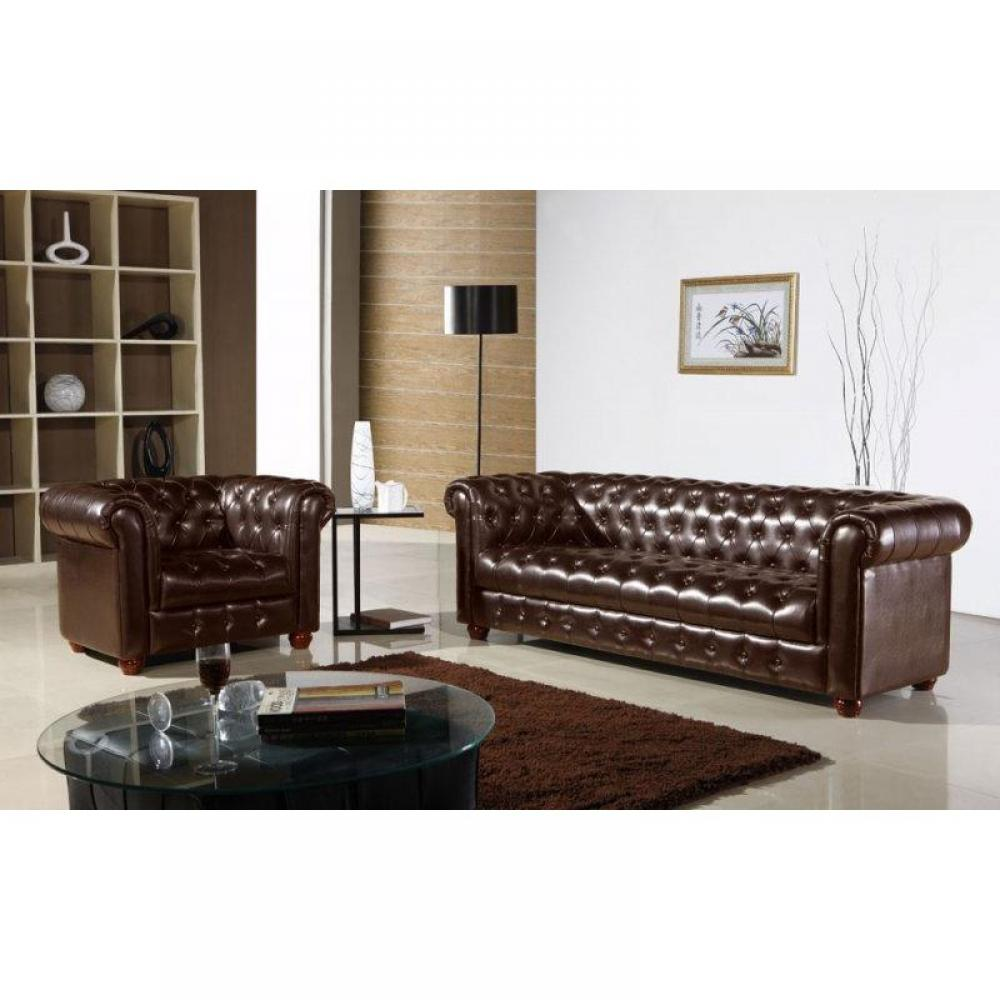 fauteuil chesterfield cuir marron. Black Bedroom Furniture Sets. Home Design Ideas