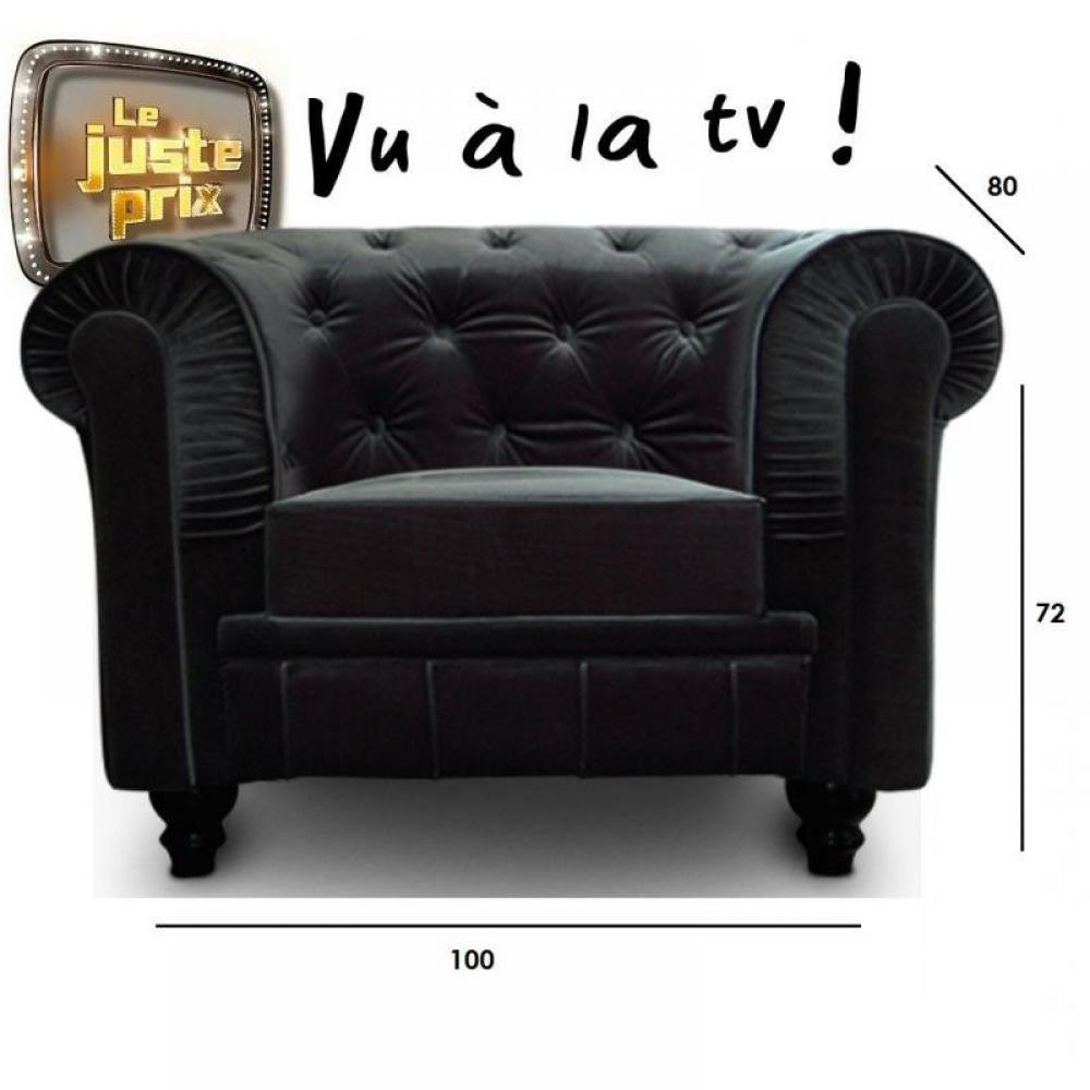 Canap chesterfield en cuir velour au meilleur prix fauteuil fixe ches - Fauteuil chesterfield velours ...