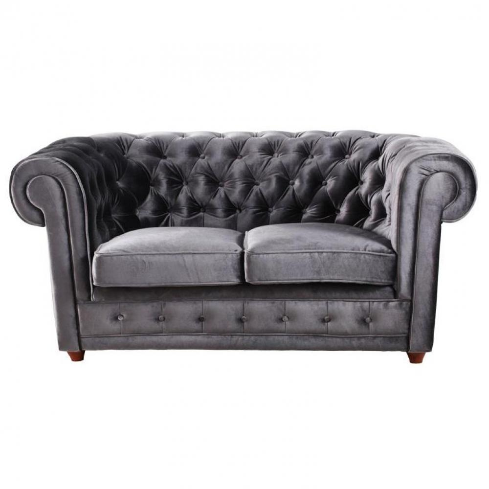 canap chesterfield en cuir velour au meilleur prix canap chesterfield deluxe velours gris. Black Bedroom Furniture Sets. Home Design Ideas