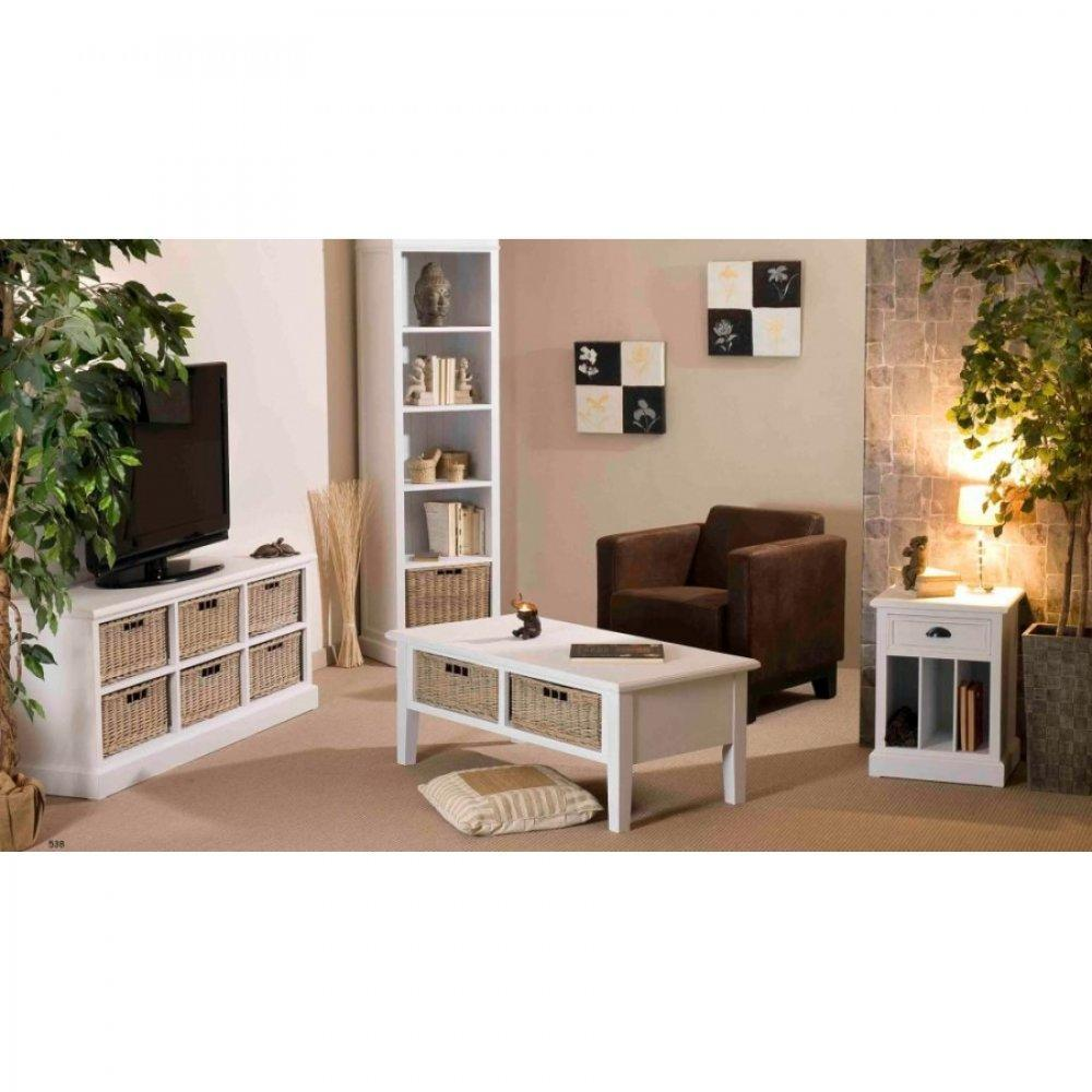 chevets meubles et rangements chevet 1 tiroir eva en bois blanc style charme colonial inside75. Black Bedroom Furniture Sets. Home Design Ideas