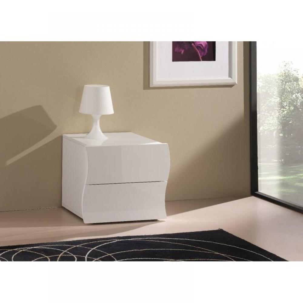 chevets meubles et rangements chevet 2 tiroirs vague nanetto blanc brillant inside75. Black Bedroom Furniture Sets. Home Design Ideas