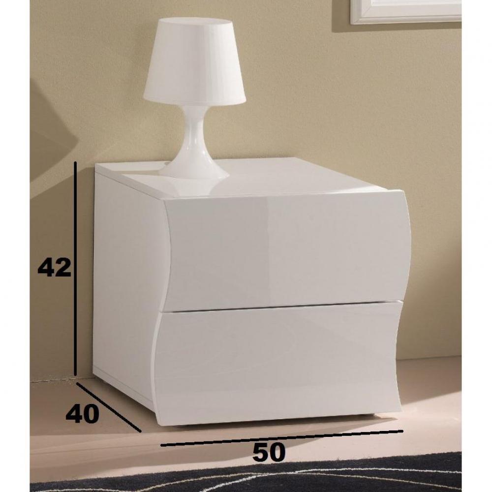 chevet 2 tiroirs vague nanetto blanc brillant - Table De Chevet Laque Blanc Brillant