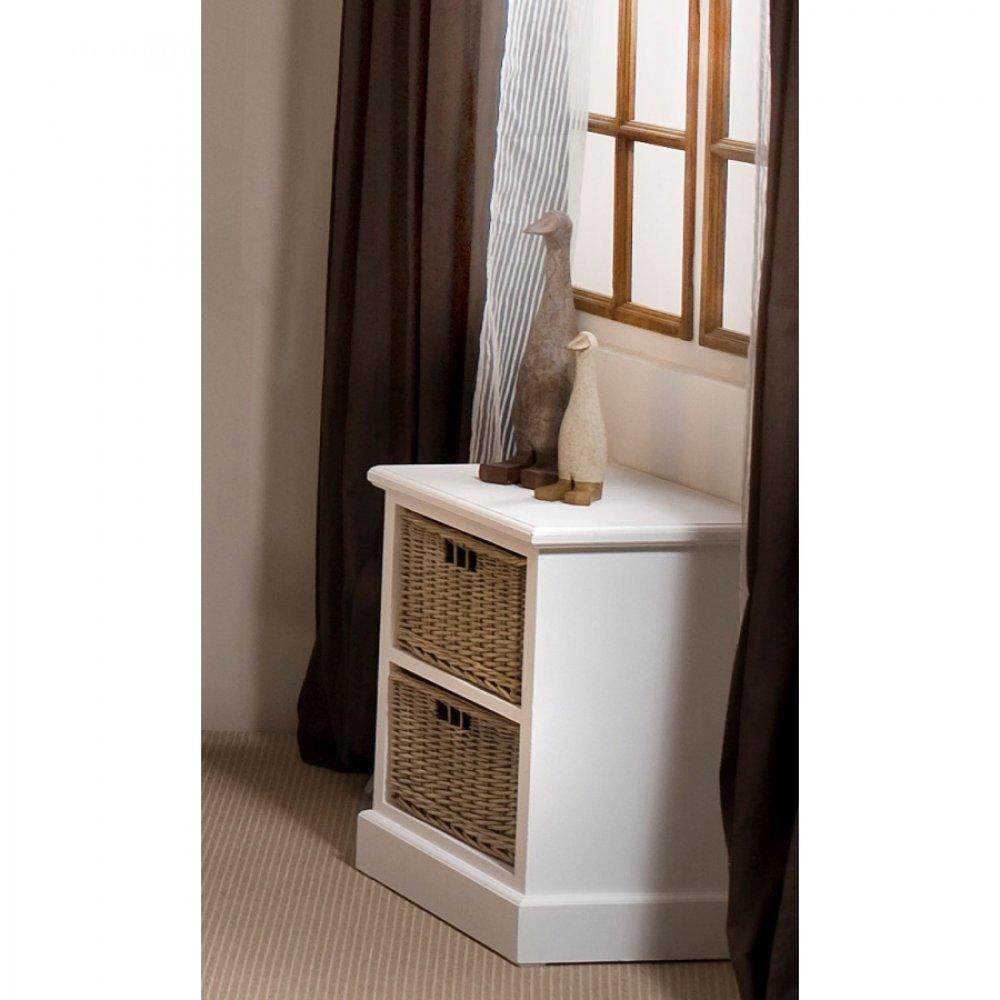 chevets meubles et rangements chevet 2 tiroirs eva en bois blanc style charme colonial inside75. Black Bedroom Furniture Sets. Home Design Ideas