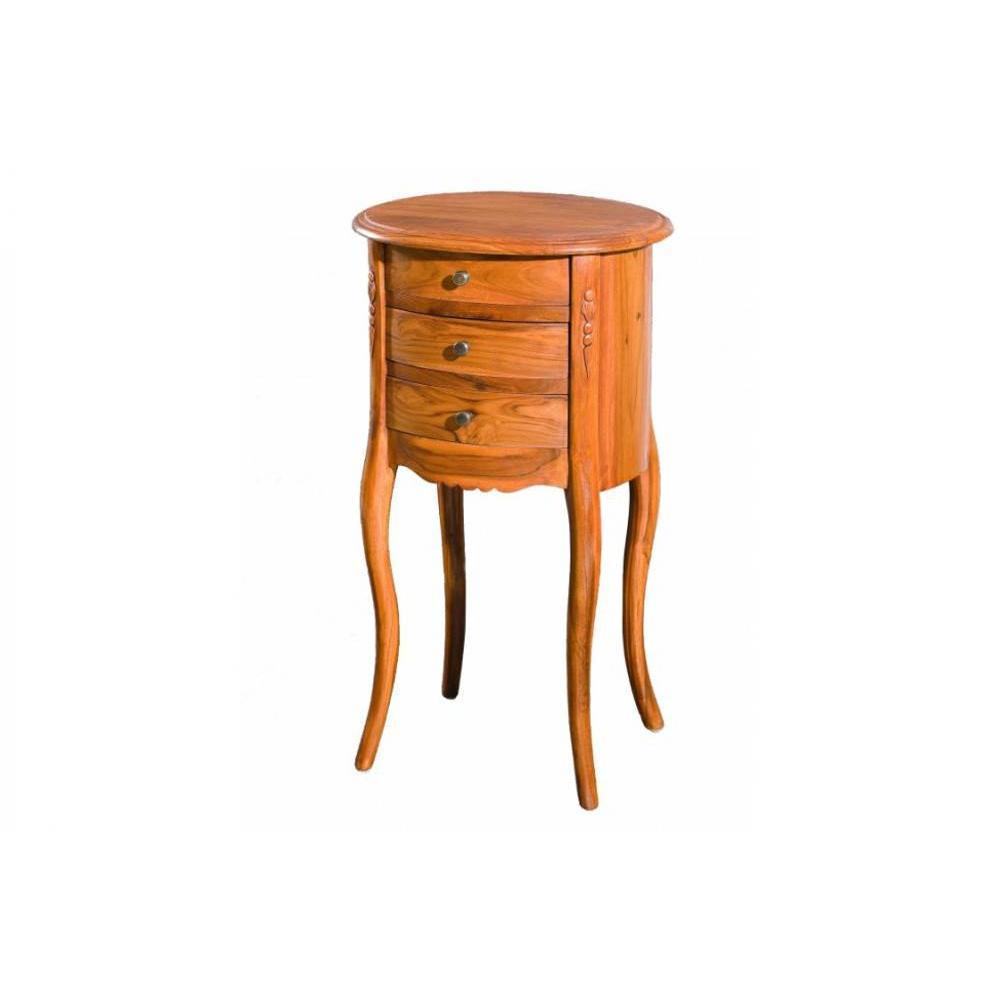 chevets meubles et rangements chevet rond 3 tiroirs style colonial en teck massif inside75. Black Bedroom Furniture Sets. Home Design Ideas