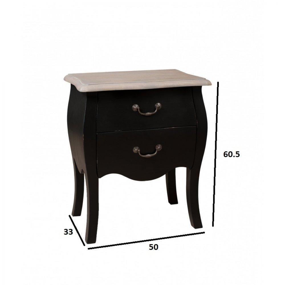 chevets meubles et rangements chevet baroque londres 2 tiroirs coloris noir en manguier inside75. Black Bedroom Furniture Sets. Home Design Ideas