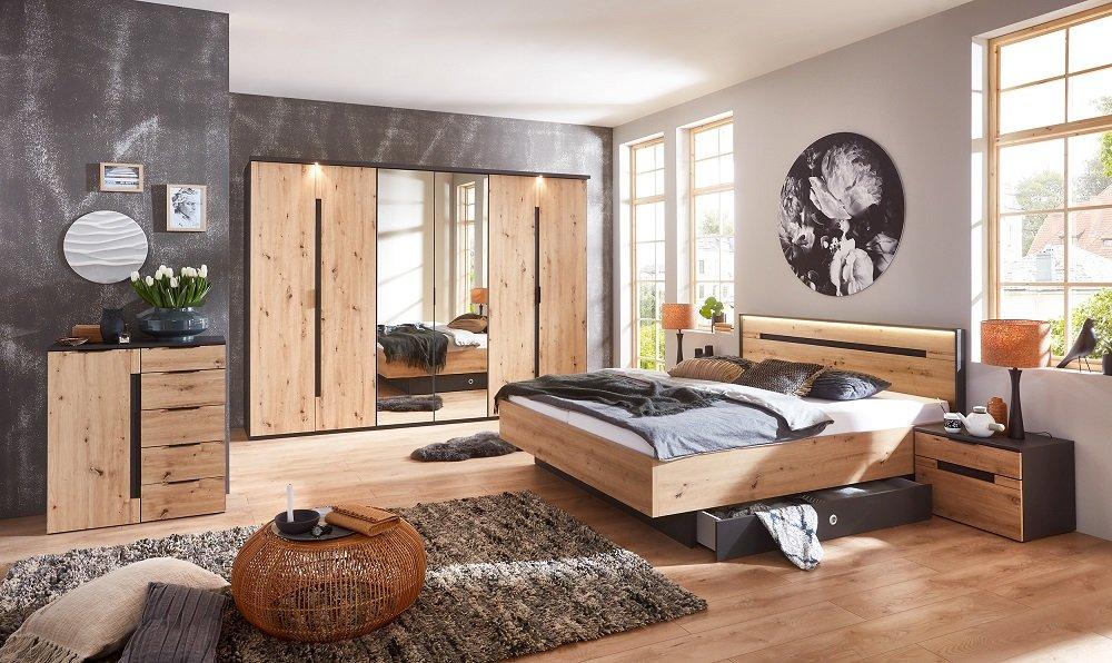 Chevet 2 tiroirs DELSON graphite façade chêne vieilli