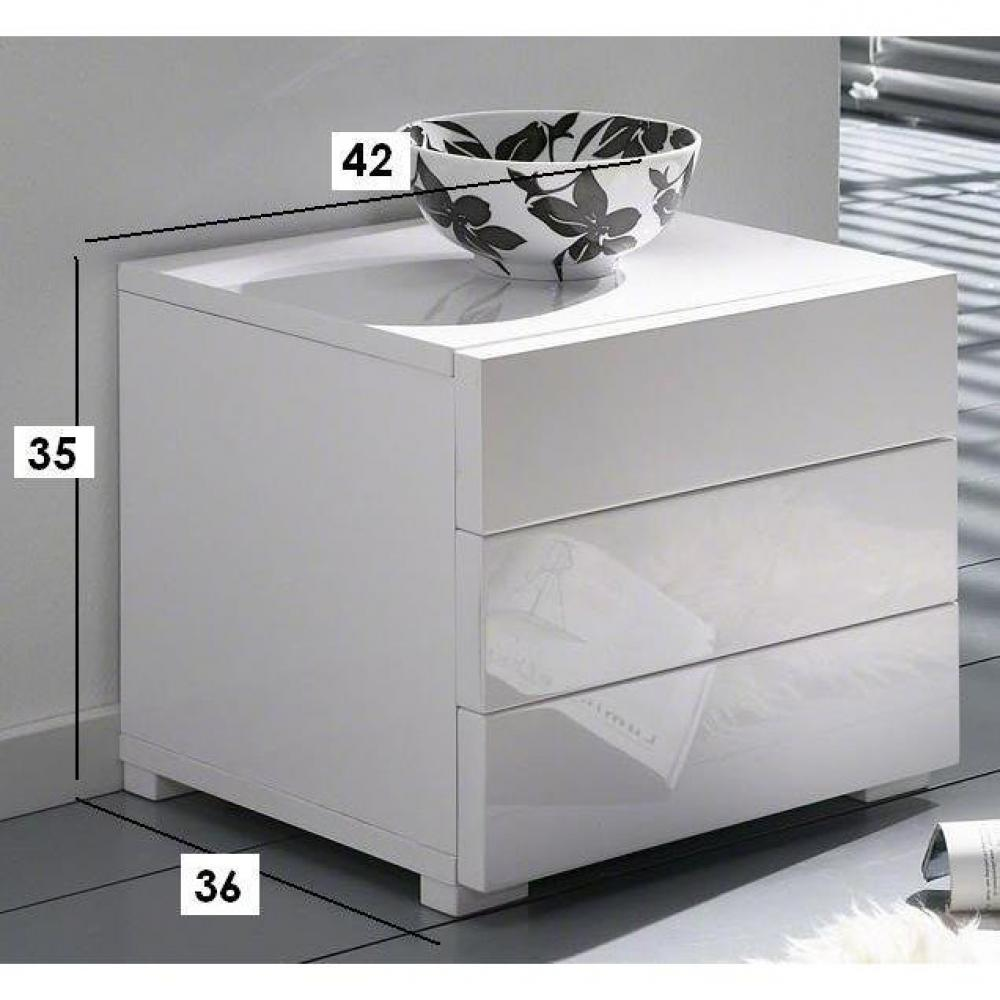 chevets meubles et rangements chevet high gloss 3 tiroirs blanc brillant inside75. Black Bedroom Furniture Sets. Home Design Ideas