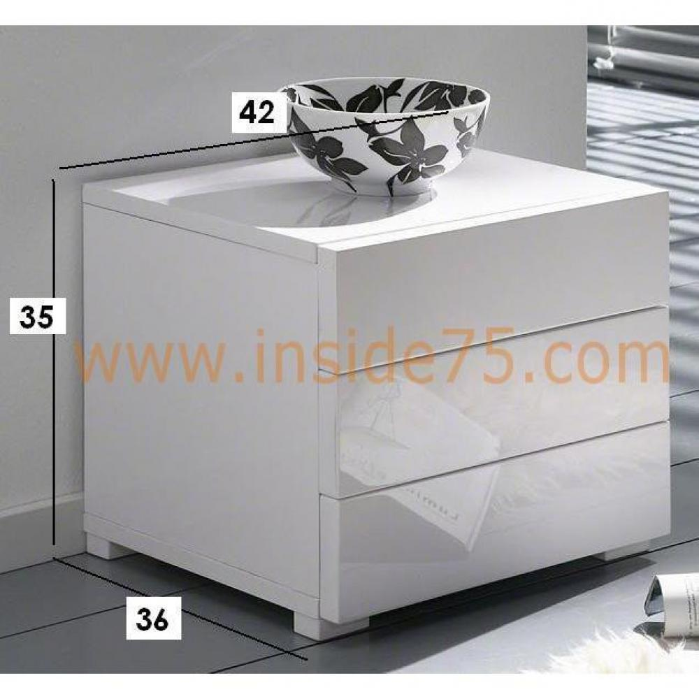 chevets meubles et rangements chevet design high gloss 3 tiroirs blanc brillant inside75. Black Bedroom Furniture Sets. Home Design Ideas