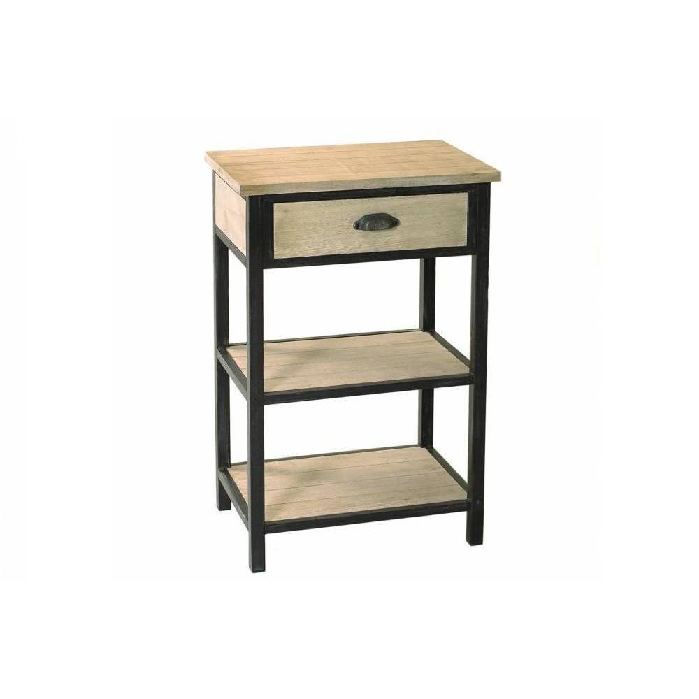 chevets meubles et rangements chevet 1 tiroir 2 tag res lea en bois de paulownia et en m tal. Black Bedroom Furniture Sets. Home Design Ideas