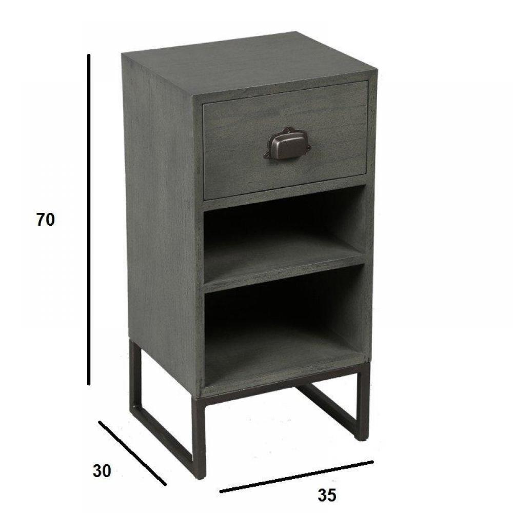 chevets meubles et rangements chevet industry c rus gris avec 1 tiroir inside75. Black Bedroom Furniture Sets. Home Design Ideas