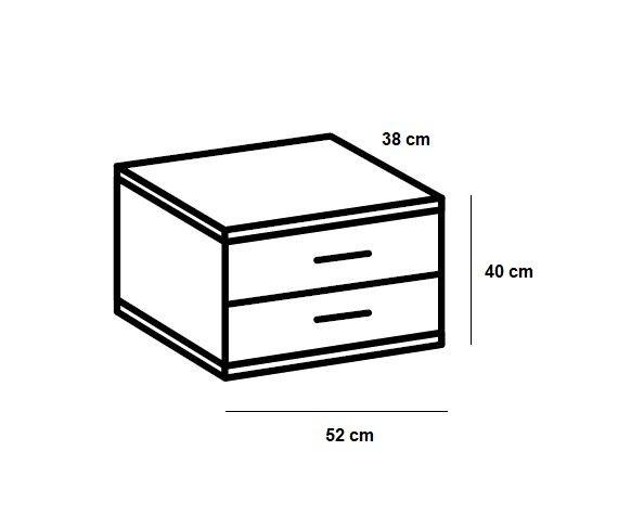 Chevet 2 tiroirs JANA chêne châtaigne béton clair