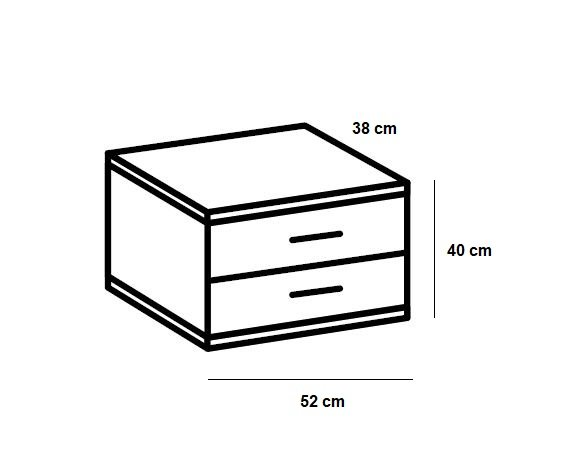Chevet JANA 1 tiroir chêne clair 1 tiroir graphite