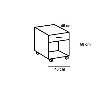 Chevet mobile 1 tiroir LISBURN style industriel chêne poutre graphite
