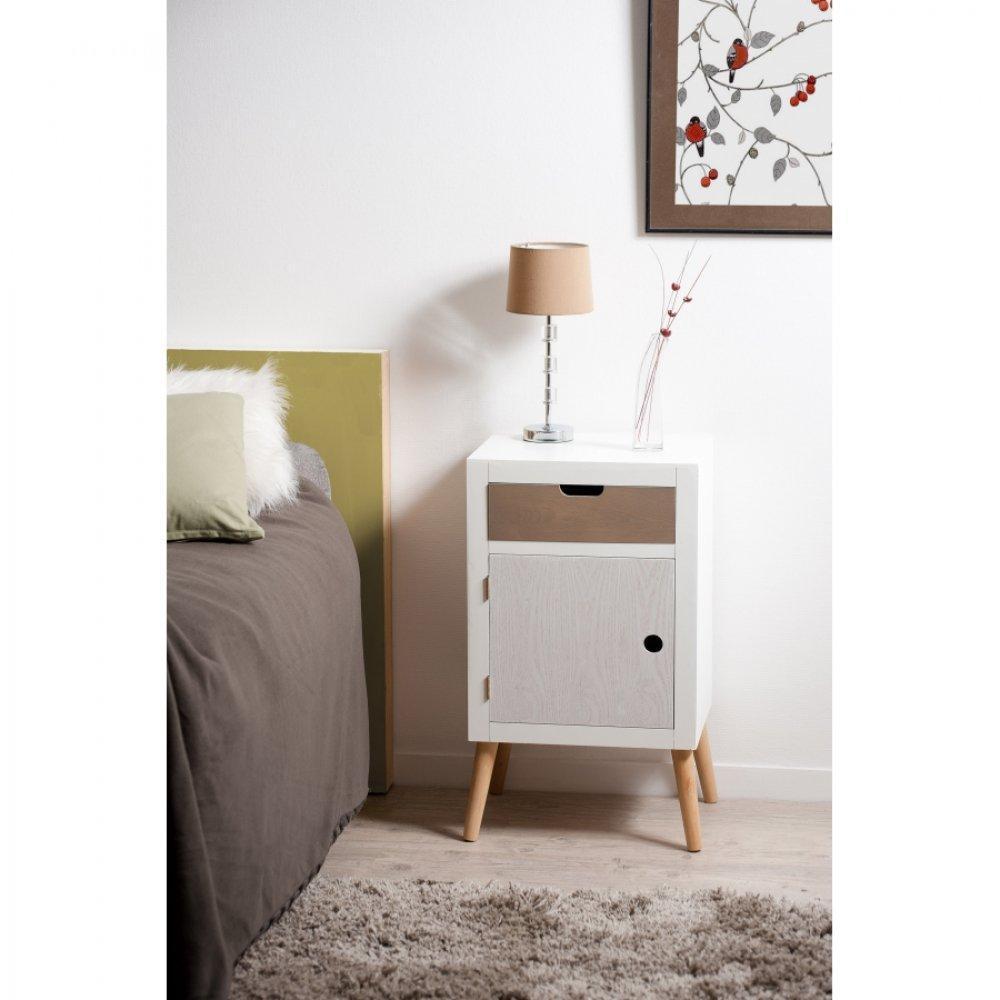 chevets meubles et rangements chevet 1 porte 1 tiroir enzo style scandinave inside75. Black Bedroom Furniture Sets. Home Design Ideas