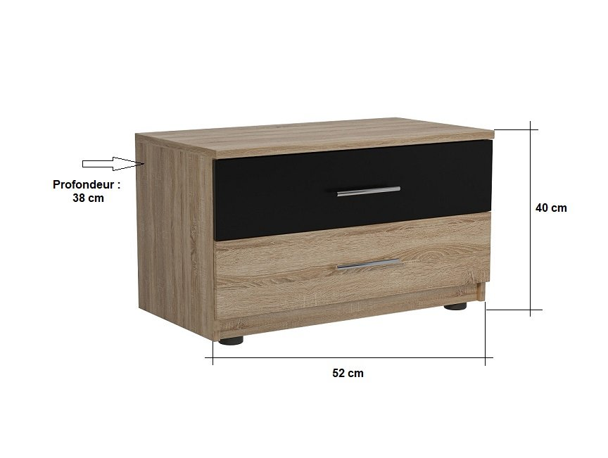 Chevet 2 tiroirs KEY  chêne naturel noir mat