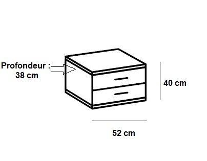 Chevet THALIA 1 tiroir blanc 1 tiroir graphite