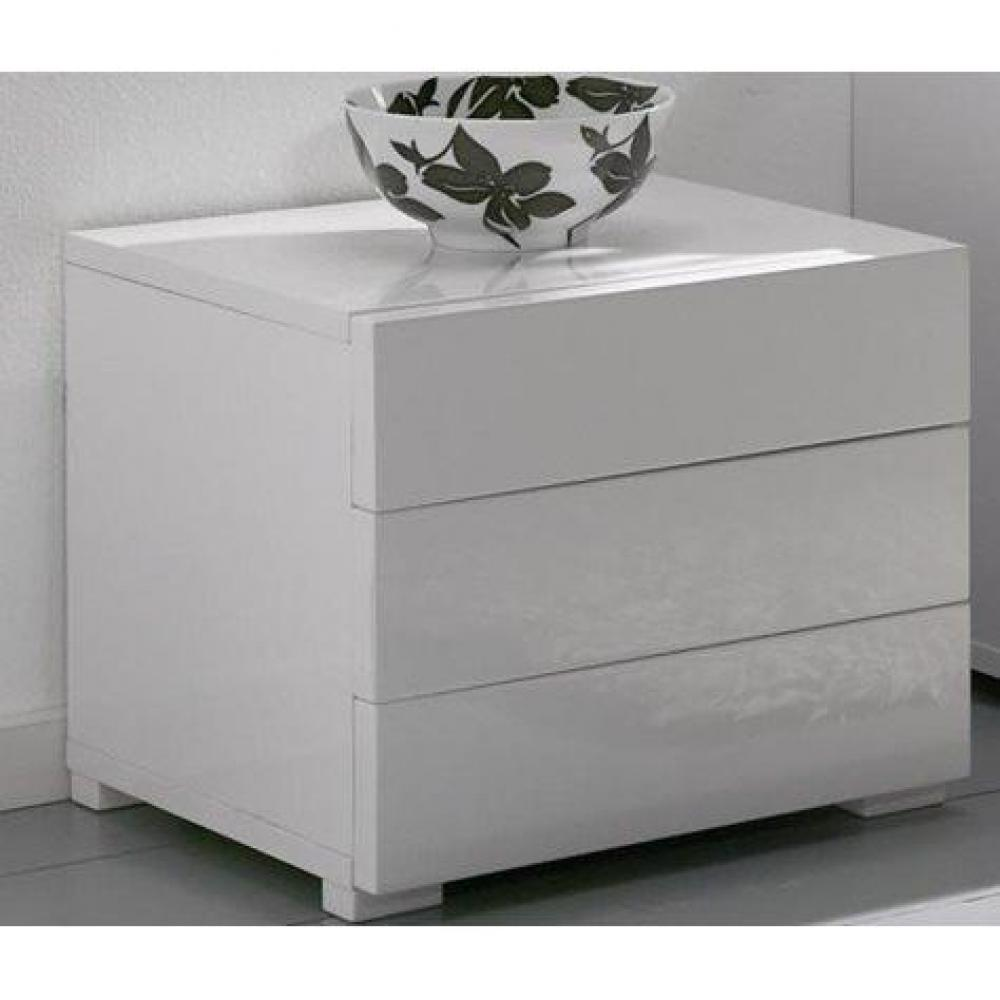 commodes meubles et rangements chevet design high gloss 3 tiroirs blanc brillant inside75. Black Bedroom Furniture Sets. Home Design Ideas