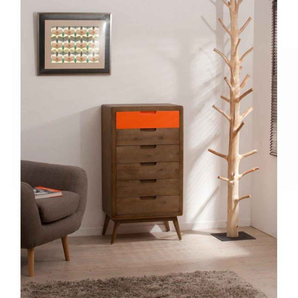 chiffonniers meubles et rangements chiffonnier 6 tiroirs lucas style colonial en mindi inside75. Black Bedroom Furniture Sets. Home Design Ideas