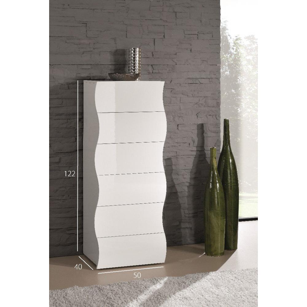 chiffonniers meubles et rangements chiffonnier vague 6 tiroirs blanc brillant inside75. Black Bedroom Furniture Sets. Home Design Ideas