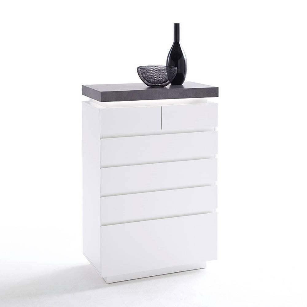 chiffonniers meubles et rangements chiffonnier atlantis laqu blanc mat et b ton 6 tiroirs led. Black Bedroom Furniture Sets. Home Design Ideas