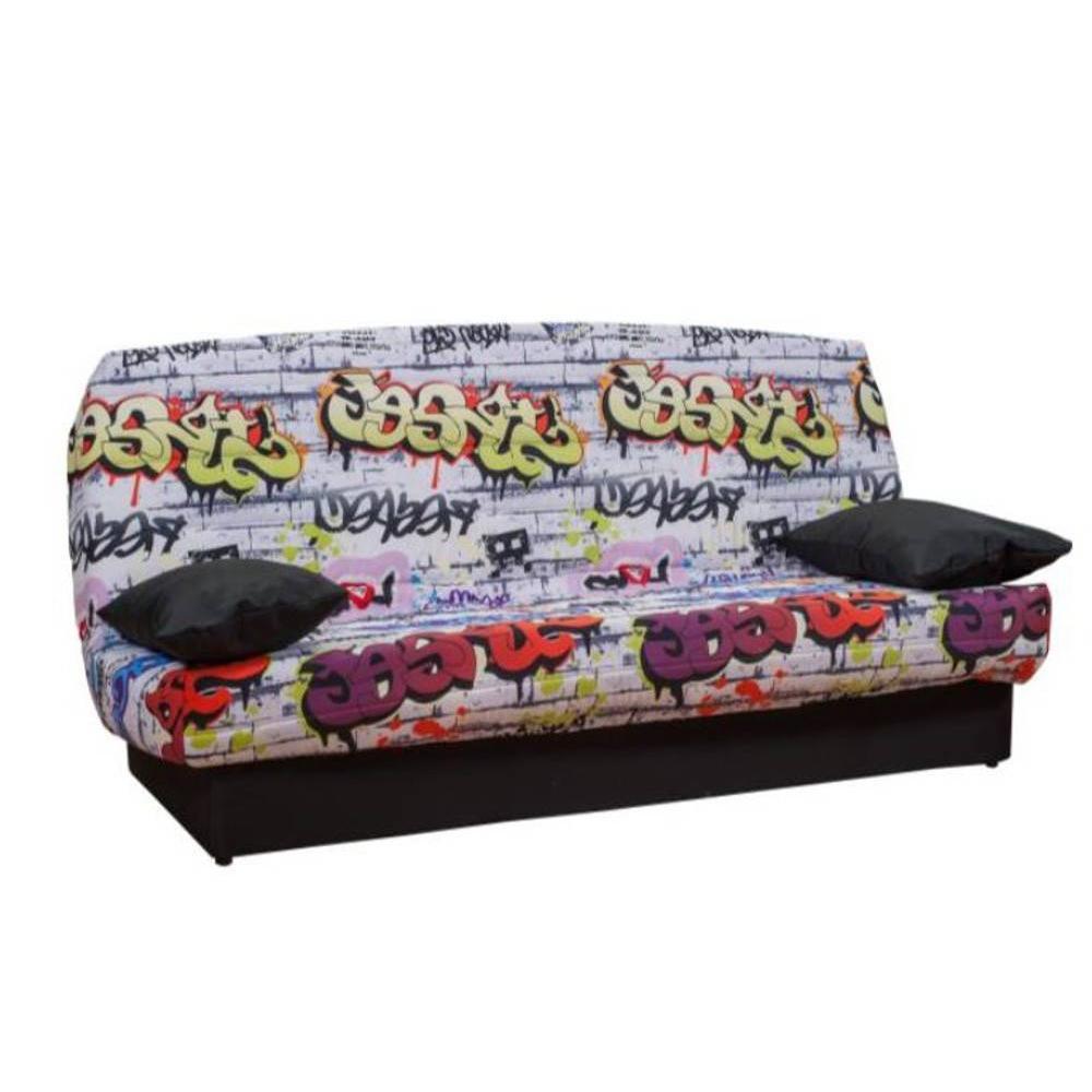 canap convertible au meilleur prix clic clac convertible lausanne imprim graffiti 130 190cm. Black Bedroom Furniture Sets. Home Design Ideas