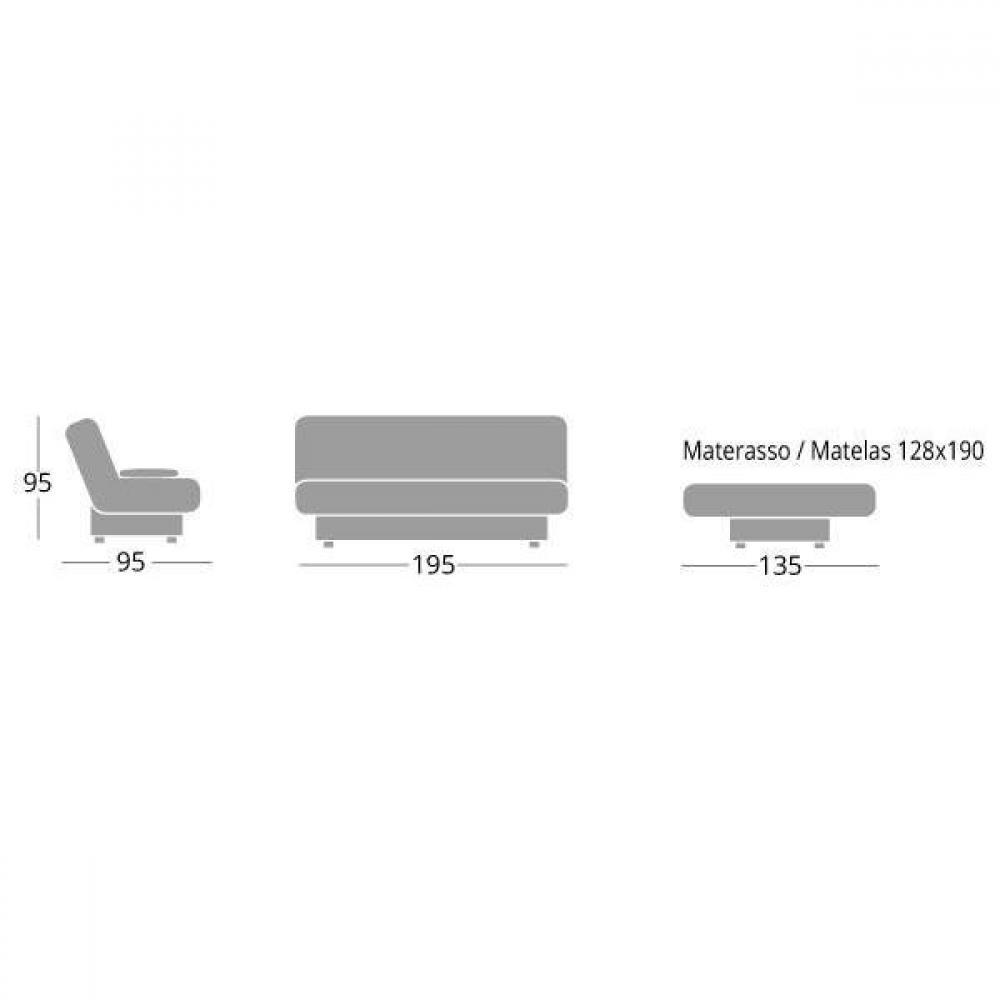 SKIP CHIUSO canapé Clic Clac convertible design CONFORT PLUS 130*190cm