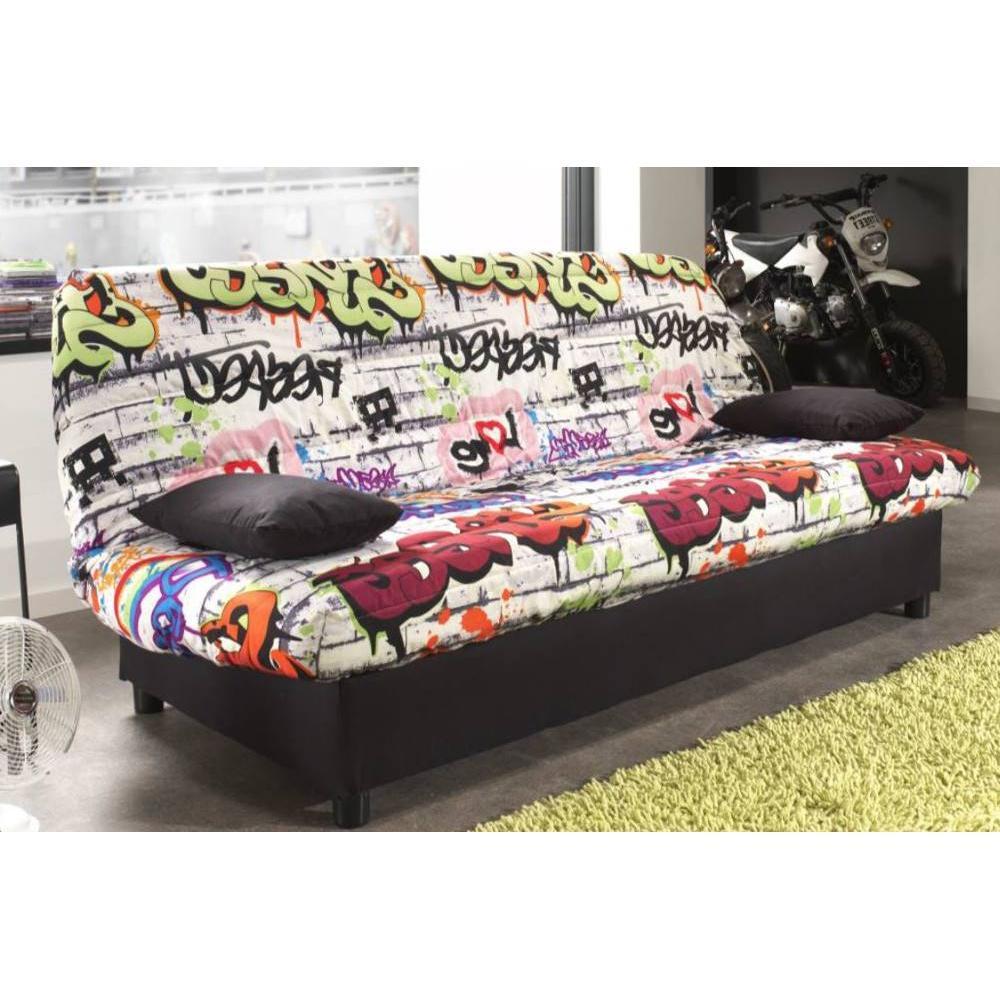 canap lit clic clac au meilleur prix clic clac convertible limerick imprim graffiti 120 185cm. Black Bedroom Furniture Sets. Home Design Ideas