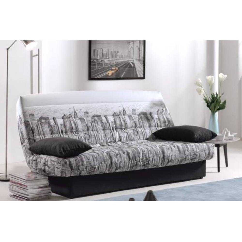 canap convertible au meilleur prix clic clac convertible lausanne imprim manhattan 130 190cm. Black Bedroom Furniture Sets. Home Design Ideas