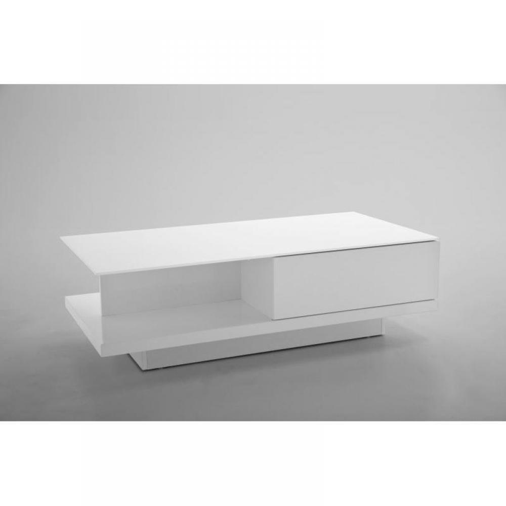 Table basse carr e ronde ou rectangulaire au meilleur prix table basse cliff blanche laqu e - Table basse ronde avec tiroir ...