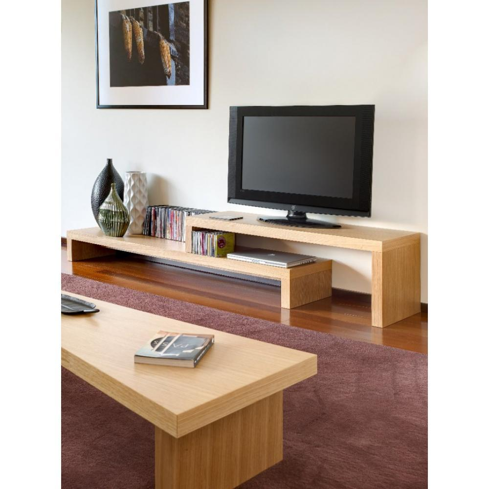 Meubles Tv Meubles Et Rangements Cliff 180 Meuble Tv Avec  # Grand Meuble Tv Bois