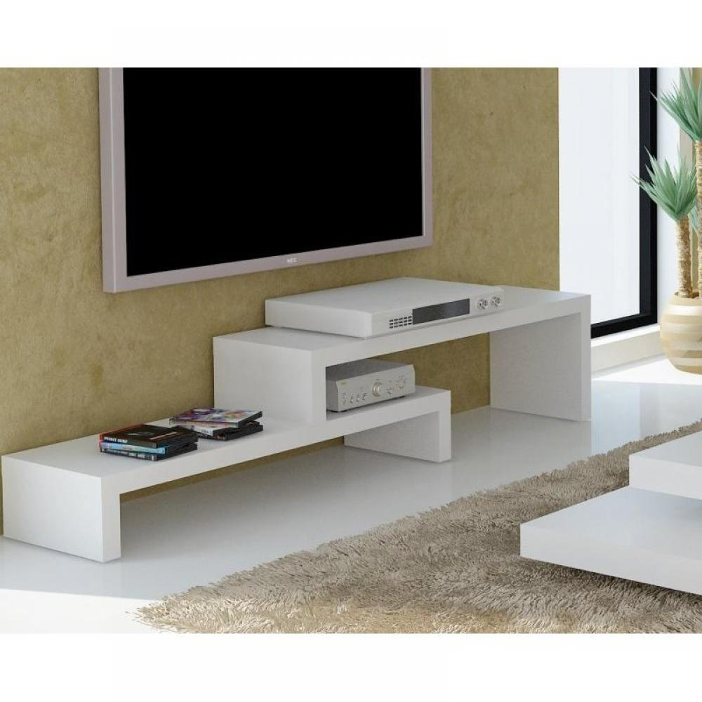 meubles tv meubles et rangements cliff 120 meuble tv laque blanc mat design inside75. Black Bedroom Furniture Sets. Home Design Ideas