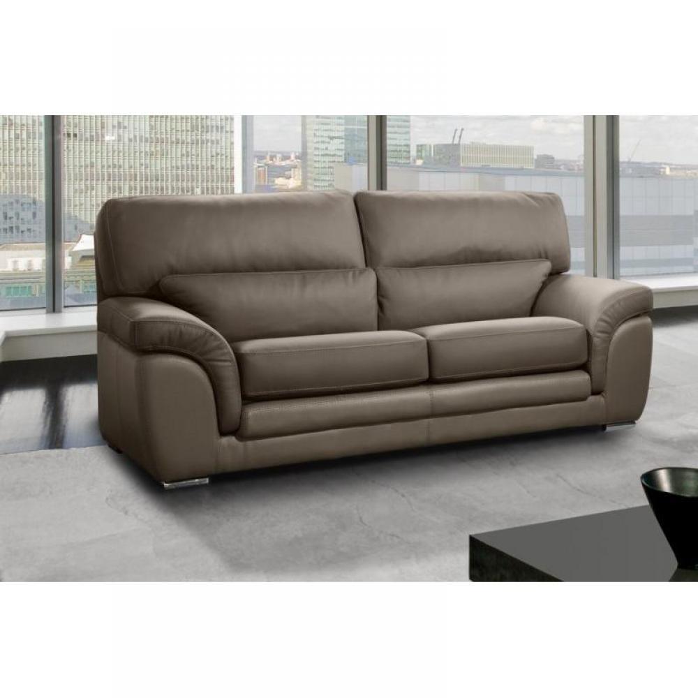 canap fixe confortable design au meilleur prix cloe canap 3 places cuir vachette taupe. Black Bedroom Furniture Sets. Home Design Ideas