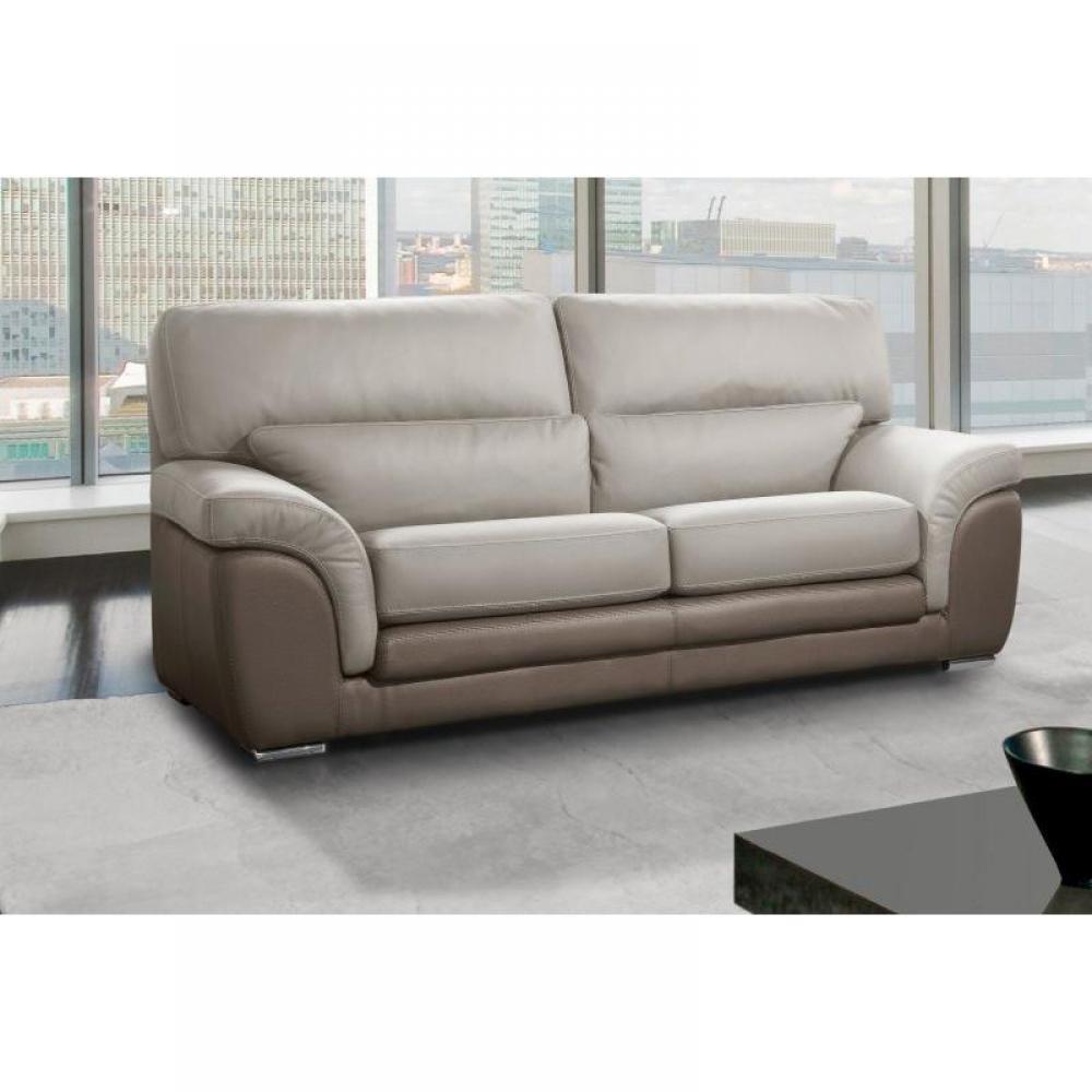 canap fixe confortable design au meilleur prix clo canap cuir vachette 3 places bicolore. Black Bedroom Furniture Sets. Home Design Ideas