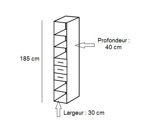Colonne de rangement LUND 3 tiroirs chêne naturel 30 x 40 cm profondeur