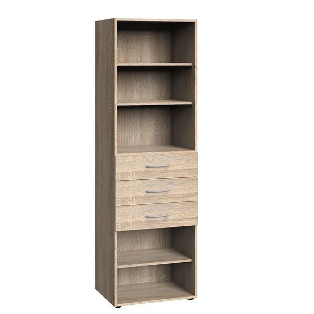 Colonne de rangement LUND 3 tiroirs chêne naturel 45 x 40 cm profondeur