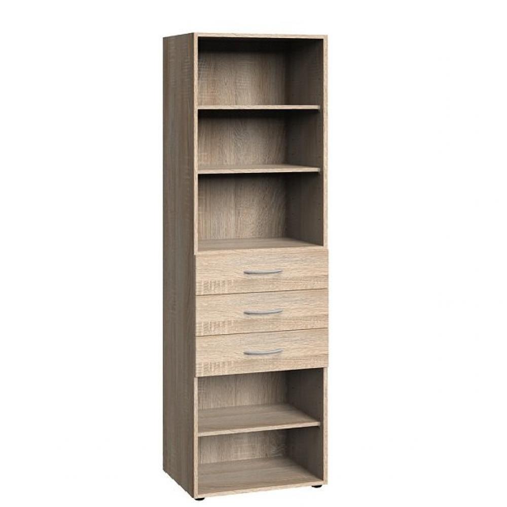Colonne de rangement LUND 3 tiroirs chêne naturel 50 x 40 cm profondeur