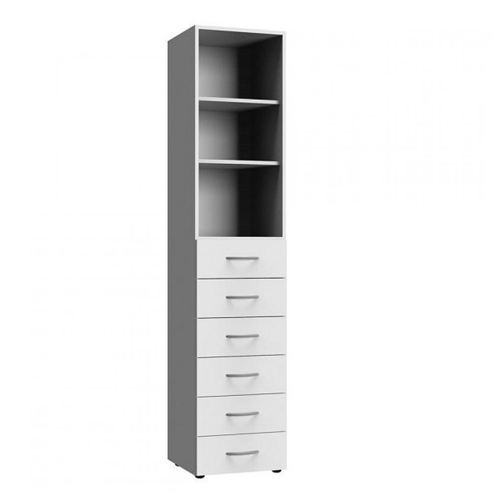 Colonne de rangement LUND 6 tiroirs blanc mat 40 x 40 cm profondeur