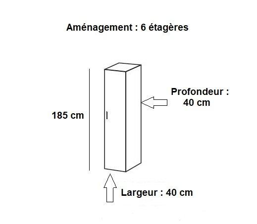 Colonne de rangement LUND 1 porte chêne naturel 40 x 40 cm profondeur