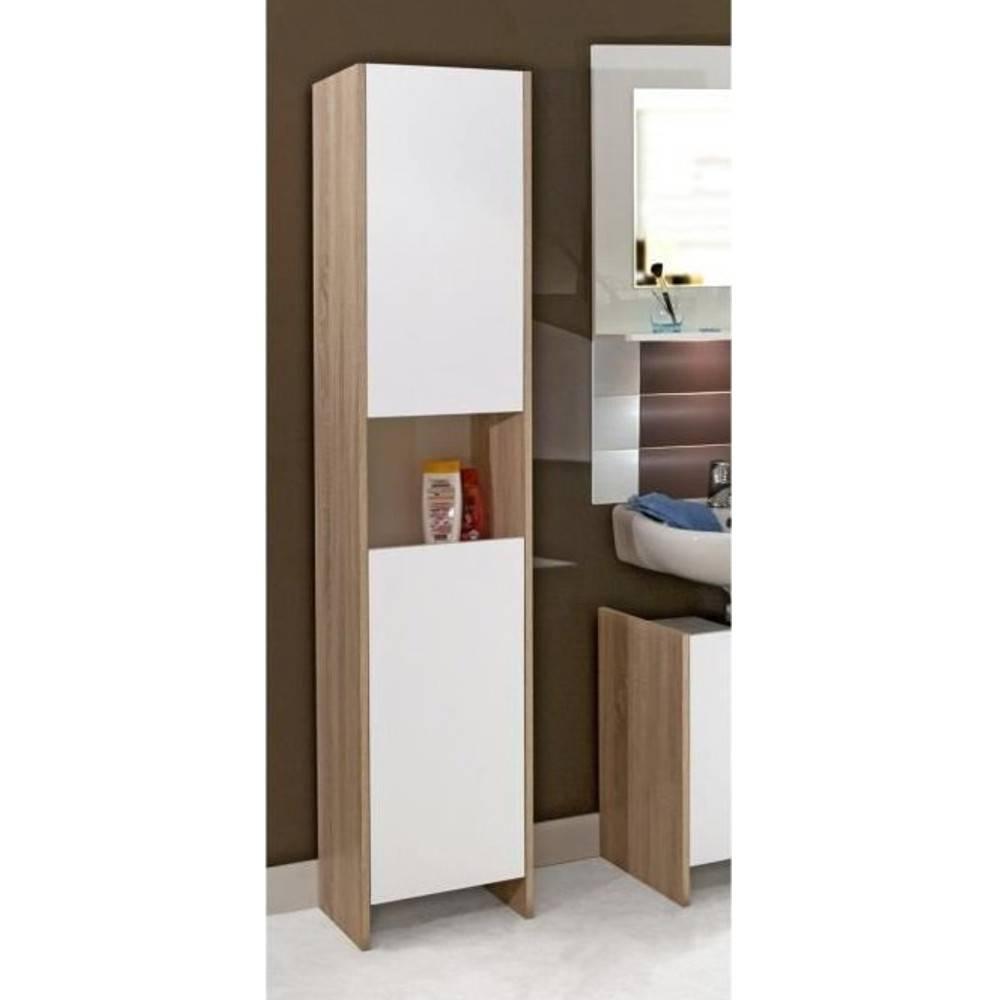 meubles salle de bain meubles et rangements colonne dova design ch ne et 2 portes blanche. Black Bedroom Furniture Sets. Home Design Ideas