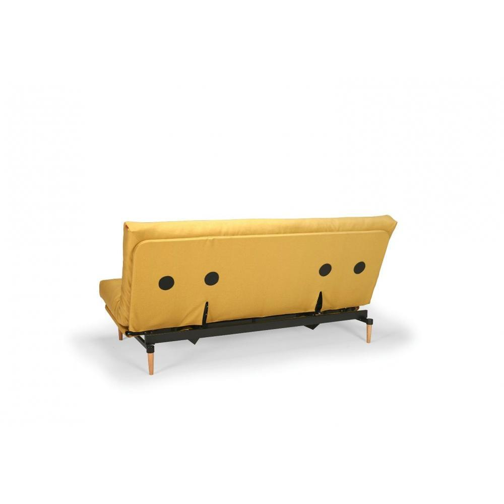 INNOVATION LIVING Clic Clac COLPUS jaune Mustard Flower convertible lit 140*200 cm coussin déco inclus