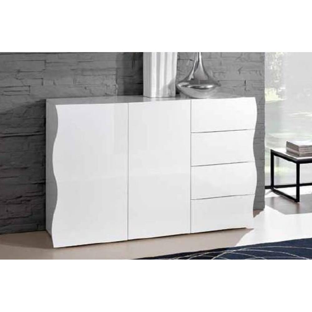 commodes meubles et rangements commode vague 4 tiroirs et 2 portes blanc brillant inside75. Black Bedroom Furniture Sets. Home Design Ideas