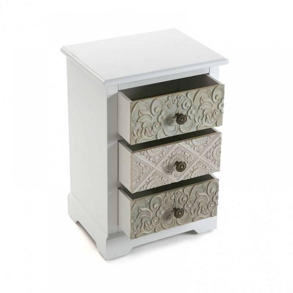 commodes meubles et rangements commode blanche 3 tiroirs baroque mosela inside75. Black Bedroom Furniture Sets. Home Design Ideas