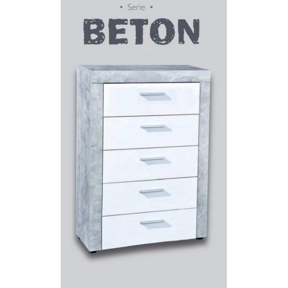 Commode 5 tiroirs aspect béton et blanc