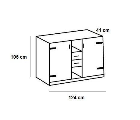 Commode style industriel LISBURN chêne